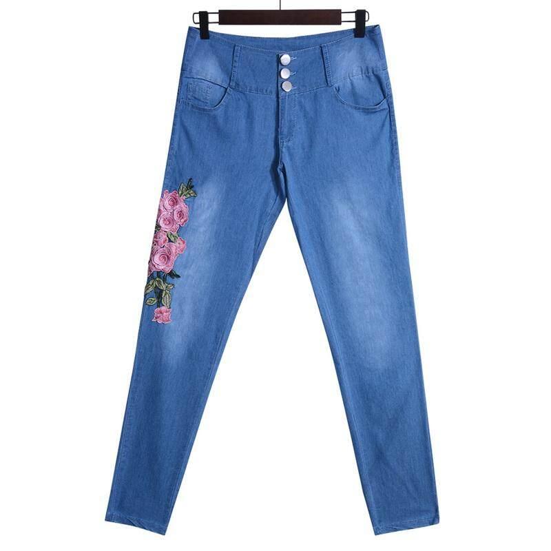 Plus Size Women/'s Floral Embroidered Denim Pants Stretch Jeans Pencil Trousers