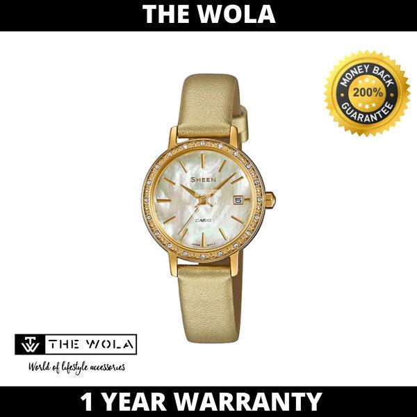 Casio Sheen Womens Analog SHE-4060GL-9AUDF Gold Leather Watch (watch for women / jam tangan wanita / casio watch for women / casio watch / women watch) Malaysia