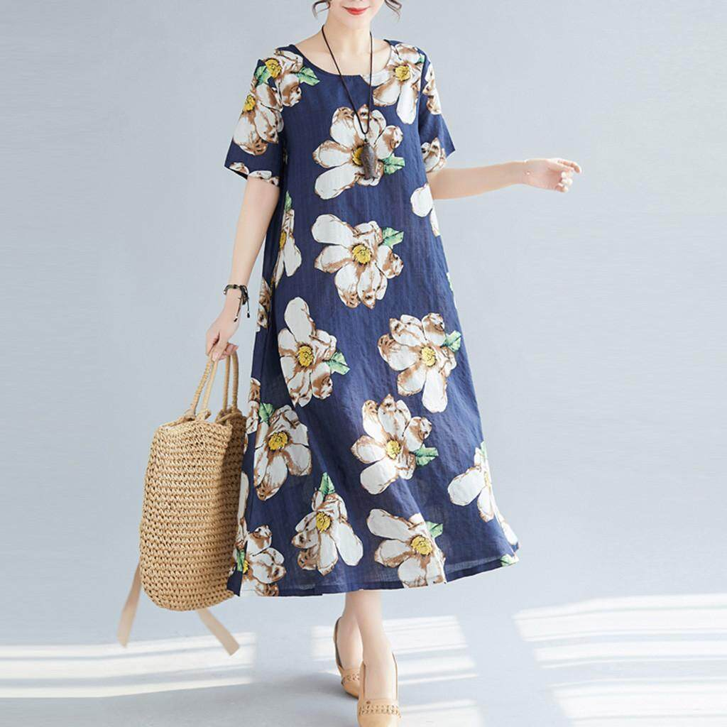 57ae4232aa89 Product details of Women's Vintage Print Short Sleeve Ladies O-Neck Casual  Mid-Calf Dress Korean Loose Casual Summer Wear