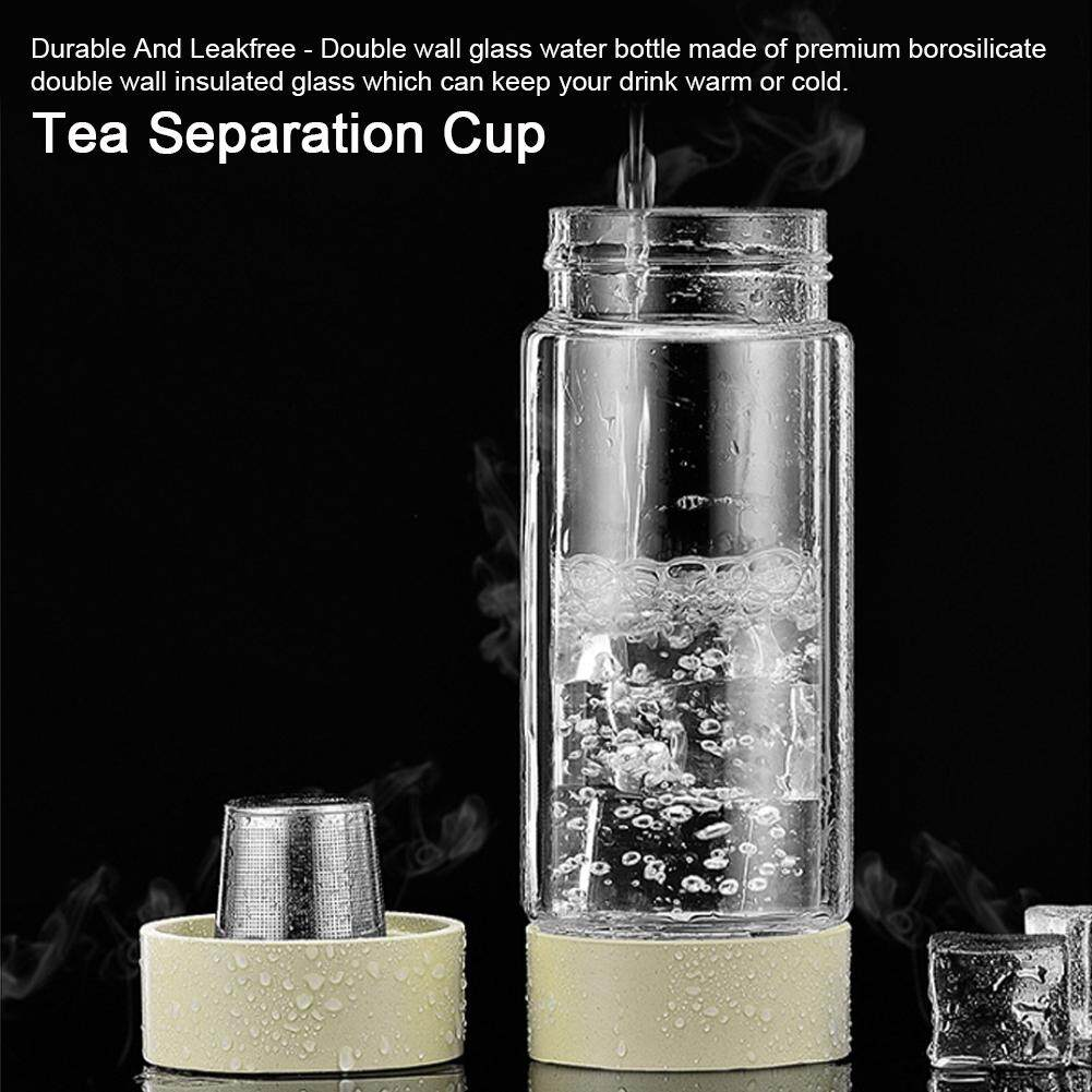 duoqiao Double Wall Glass Portable Water Bottle Tea Separation Stainless Steel Filter Cup