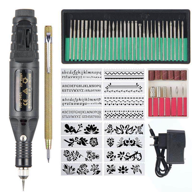 Outflety Điện Micro Khắc Bút, Khắc Mini Bộ Dụng Cụ, có Thể Điều Chỉnh Tốc Độ Tự Khắc Dụng Cụ Với 6 Mài Nhẫn Và 16 Stencils Cho Thủy Tinh Kim Loại Gốm Gỗ Nhựa Trang Sức sơn Móng Tay