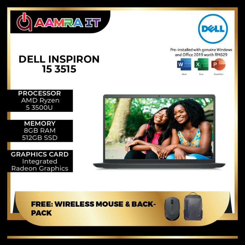 DELL INSPIRON 15 3515 (R5-3500U, 8GB RAM, 512GB SSD, 15.6 FHD, CARBON BLACK-W10, H&S) Malaysia