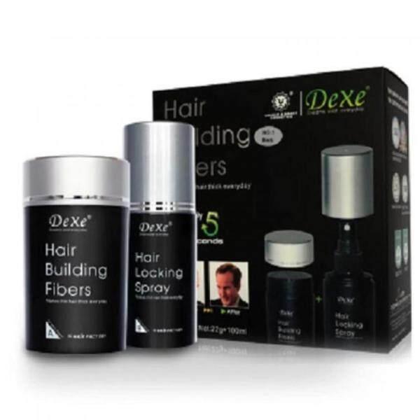 Dexe Hair Building Fibers With Hair Locking Spray Set Black