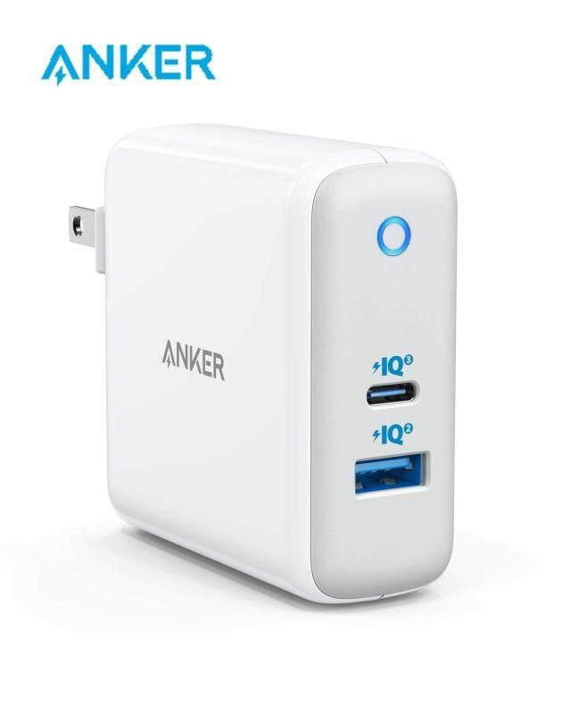 Anker A2322 60W Piq 3.0 & Gan Tech USB C, PowerPort Nguyên Tử III (2 Cổng) [[Một Cho Tất Cả] Loại Nhỏ Gọn-C (Piq 2.0 USB-A Cổng), cho USB-C Laptop MacBook, iPad Pro, iPhone