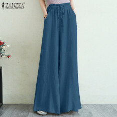 Quần ống rộng lưng cao tôn dáng ZANZEA thiết kế thời trang