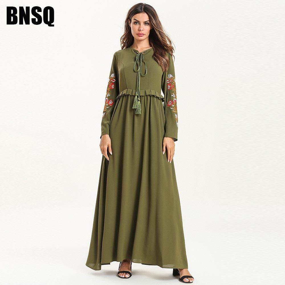 9e80496f07d20 2019 Elegant Green Muslim Embroidery Abaya Maxi Dress Kimono Long Robe  Gowns Ramadan Middle East Islamic Prayer Worship Service Clothing