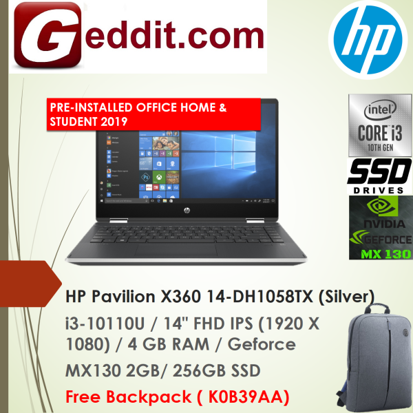 HP PAVILION X360 14-DH1058TX LAPTOP (I3-10110U,4GB,256GB SSD,14 FHD,MX130 2GB,WIN10) FREE BACKPACK + PRE-INSTALLED OFFICE H&S 2019 Malaysia