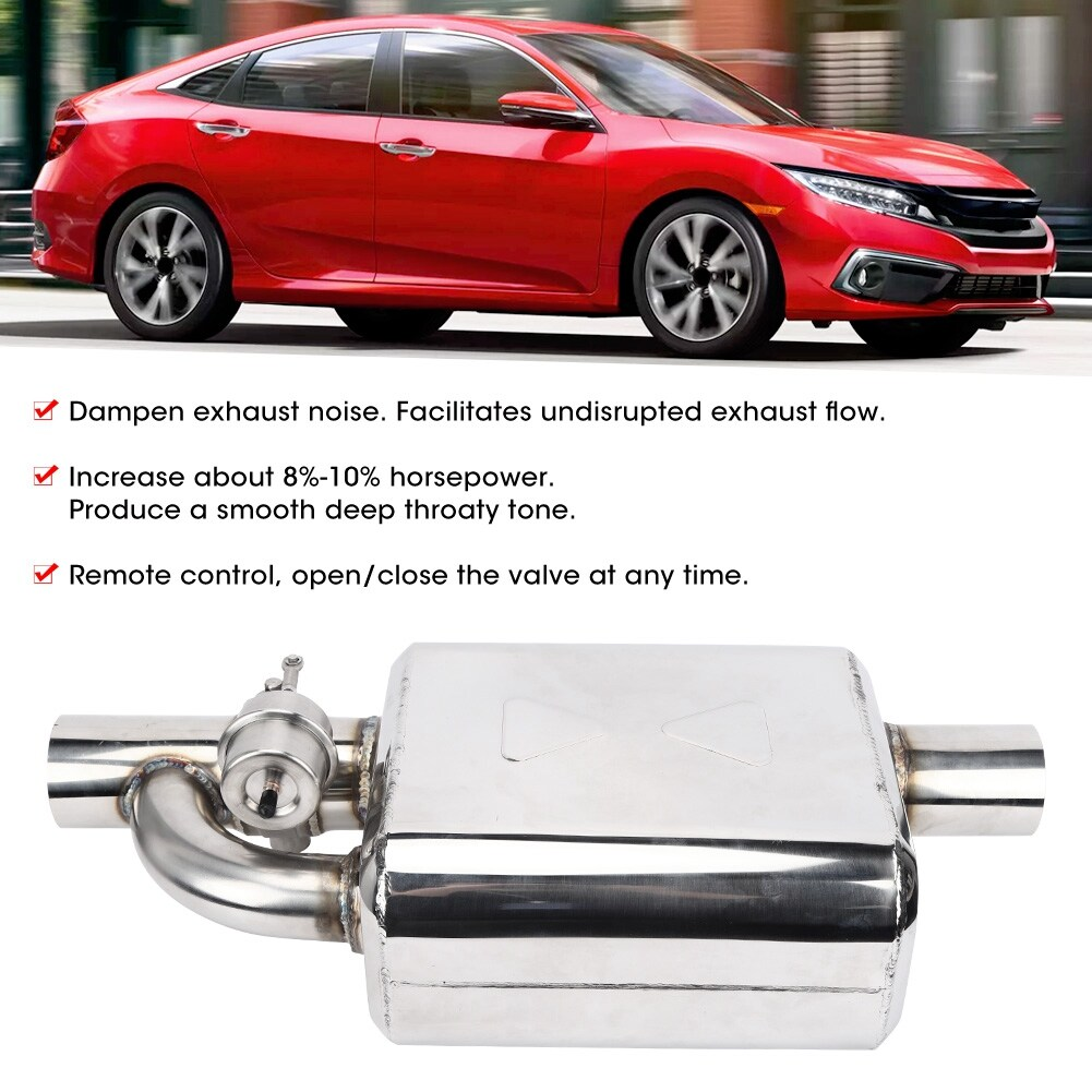 2.5in Universal Car Exhaust Muffler Resonator With Cutout Valve Remote Control.