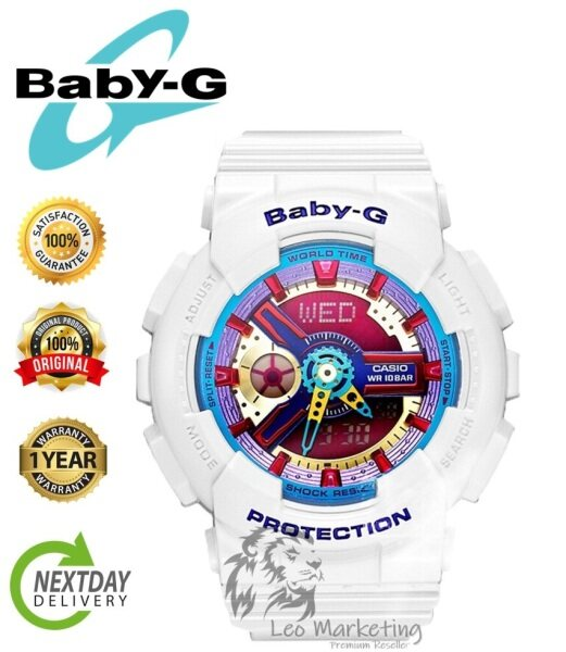 Leo Marketing 100% Original (Hot Sale) Casi0 Baby_G BA110 Amazing White & Multi Dial Wrist Watch Women Sports Watch Seal pack Box Malaysia