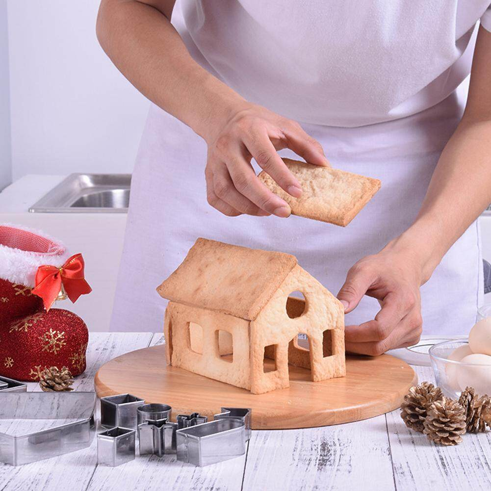 10pcs Xmas Gingerbread House Cookie Cutter Cake Mold Biscuit Pastries Mould
