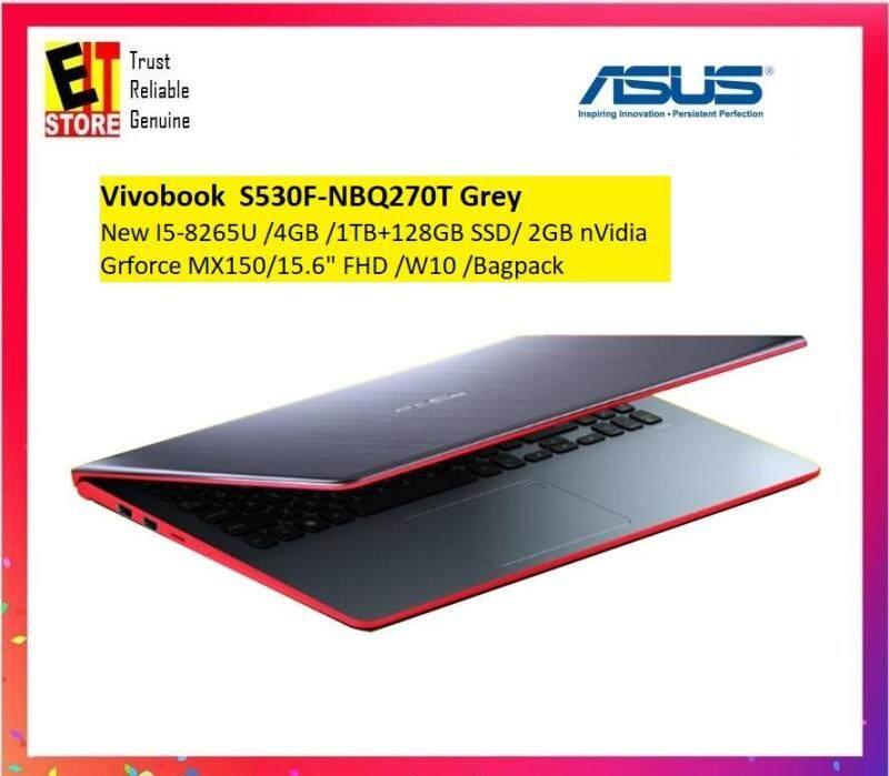 Asus Vivobook S530F-NBQ270T / S530F-NBQ271T 15.6  FHD Laptop (i5-8265U, 4GB, 1TB+128GB, MX150 2GB, W10)+ Bagpack Malaysia