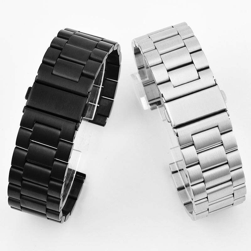 304 Stainless Steel Watch Band 16mm 18mm 2mm 22mm 24mm Black Silver Replacement Mens Watch Strap Quick Relese Malaysia