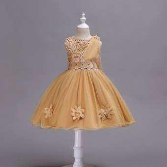 BGD สาวดอกไม้ชุดเจ้าหญิงโบว์ Tutu งานแต่งงานปาร์ตี้ Gowns ชุดเดรสแขนกุด-