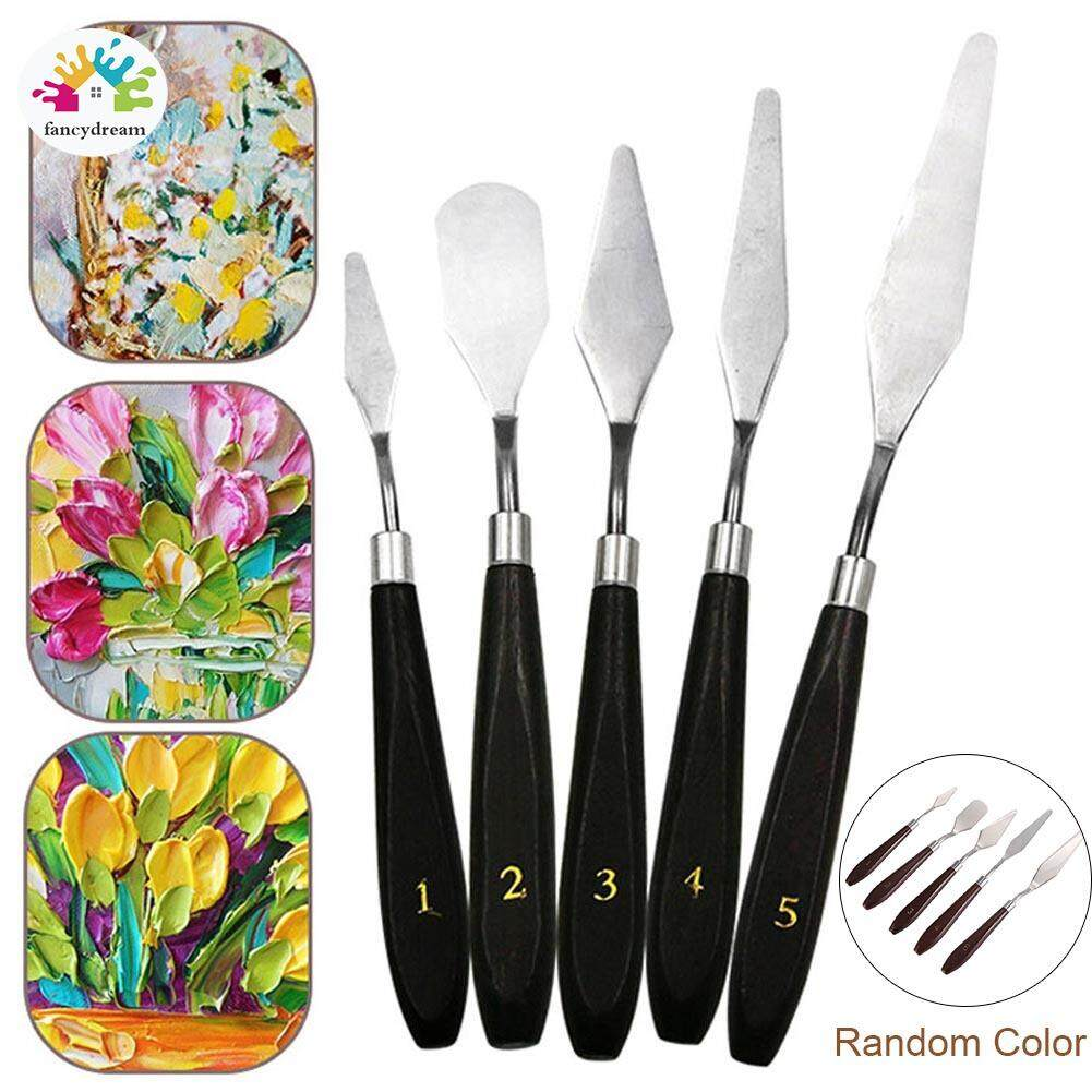 fancydream 5Pcs Mixed Stainless Steel Palette Scraper Spatula Set for Artist Oil Painting Tools Kit
