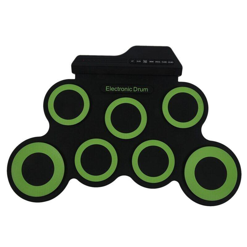 Dropship-Trống Điện Tử Di Động USB Kỹ Thuật Số 7 Miếng Cuộn Lên Bộ Trống Silicone Bộ Trống Điện Với Dùi Trống Bàn Đạp Chân
