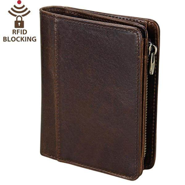 ⚡️SLGOL Mens Genuine Leather Wallet RFID Blocking Travel Wallet Trifold/Bifold Credit Card Holder Large Capacity