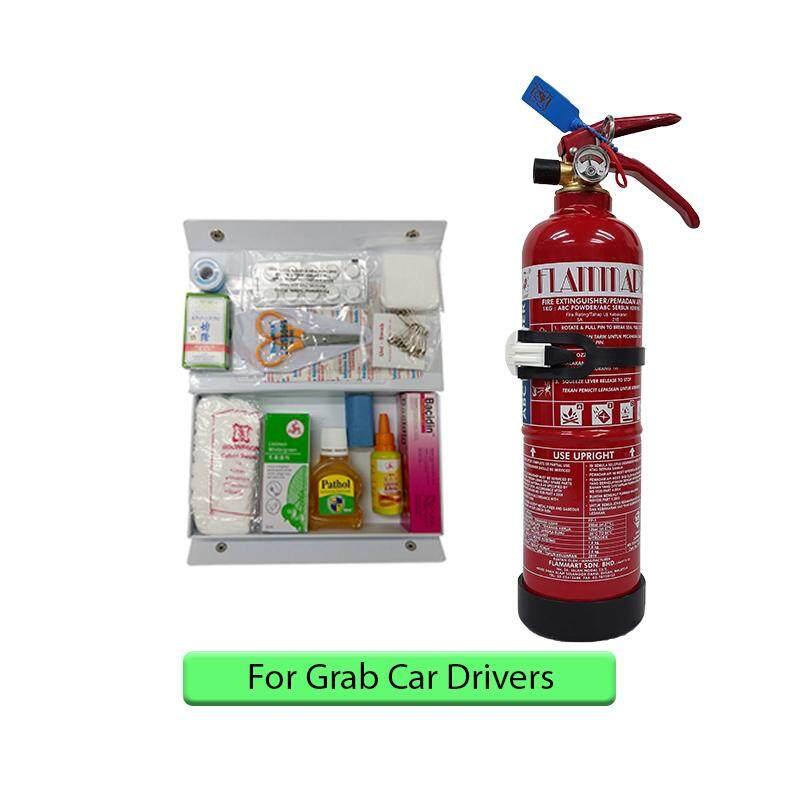 EzSpace 1Kg Fire Extinguisher Flammart Sirim Puspakom Ready Year 2019 Production And First Aid Kit For Grab Car Drivers Pemadam Api Set Untuk Kereta Grab