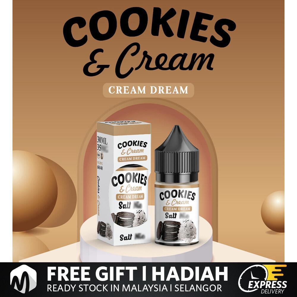 ( Salt ) Cream Dream Salt 30ML Donut strawberry Cookies & cream Popcorn Caramel  Vape Ecgis Ready Stock Cheap Murah Ejuice Eliquid Vape Juice Malaysia