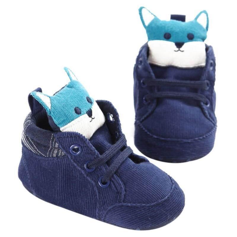 Bayi Laki-laki Sepatu Anak Perempuan Kain Katun Anak Kepala Rubah Renda Jalan Pertama Sepatu Kets Kanvas Anti-Slip Sol Lembut Alas Kaki Balita Hook