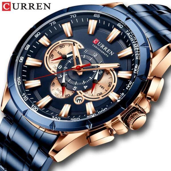 [RAYA SALE] CURREN Mens Luxury Brand Watch Quartz Wristwatch Sports Chronograph Luminous Hands Clock Male Stainless Steel Band Fashion Business Watch Malaysia
