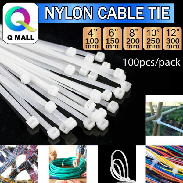 Q MALL WHITE NYLON CABLE TIES 4 / 6 / 8 / 10 / 12 Inch - 100PCS