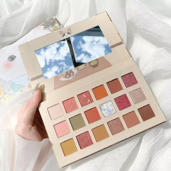 Cartoon eyeshadow 18 color cat eyeshadow palette ins super fire pearlescent waterproof and sweat proof