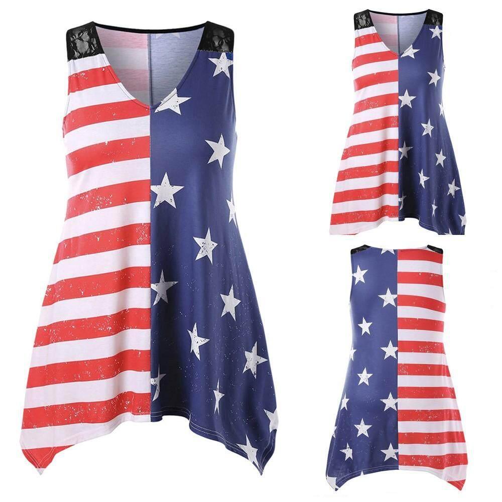 3b9faf1e3e6cd Fashion Women American Flag Print Lace Sleeveless V-Neck Tank Tops Shirt  Blouse