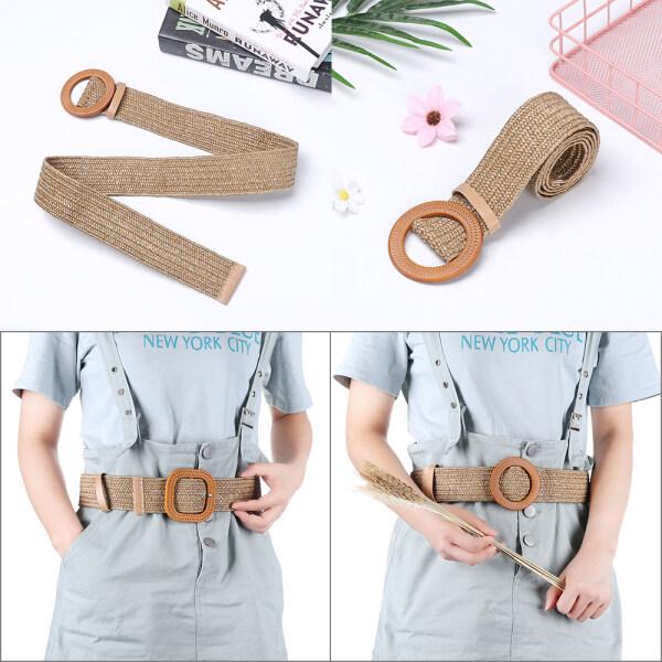Giá bán DAORE55 Fashion PP Straw Dress Belt Shirt Wooden Buckle Jade Clasp Straw Belt Body Jewelry Elastic Waist Chain Belly Necklace