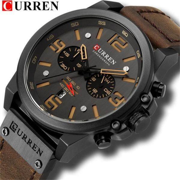 CURREN Top Luxury Brand Fashion Mens Quartz Watches Men Casual Sport Waterproof 12/24 Hour Automatic Date Display Watch Malaysia