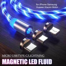 Chất lưu LED Từ Cáp Sạc Chảy 2.4A Sạc Nhanh Nam Châm Micro USB Type C Cáp Lightning Dành Cho Samsung OPPO VIVO Huawei LED Từ Dây Dây