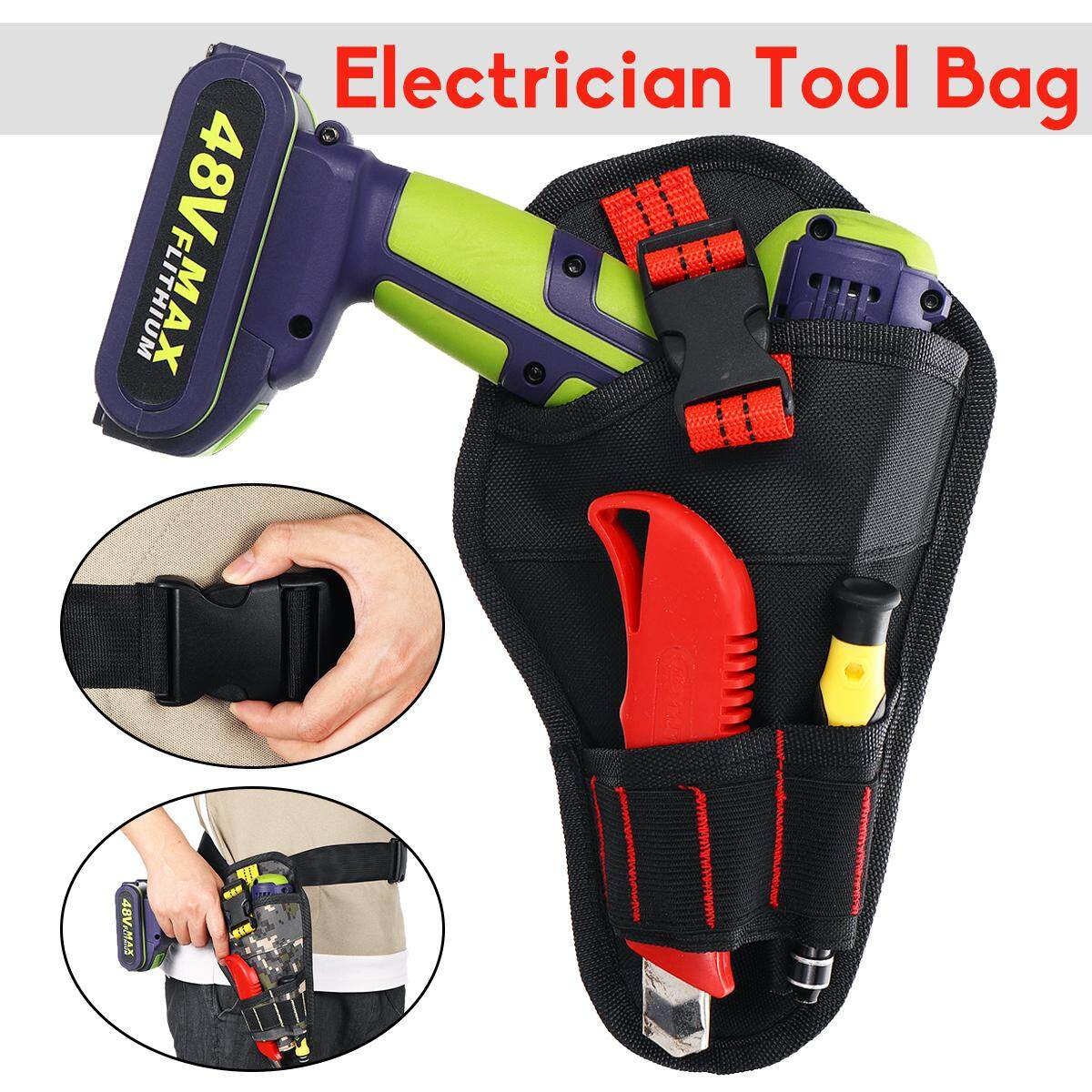 Heavy Duty Cordless Drill Holster Tool Belt Pouch Waist Pocket Tools Storage Bag