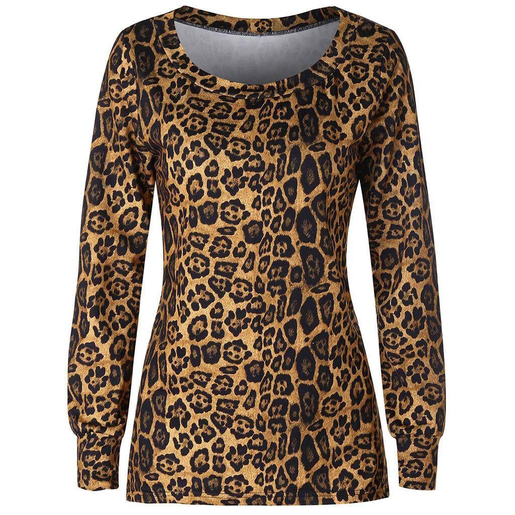 fdf8d33fef5 Aiipstore Womens Long Sleeve Leopard Print Round Neck Top Contrast Blouse