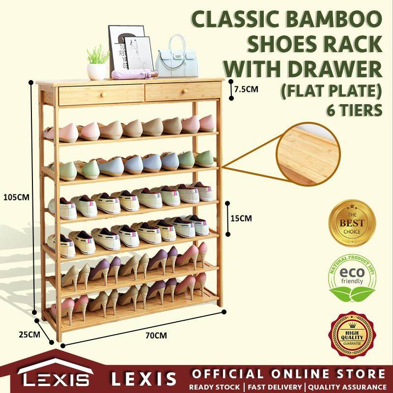 Lexis : 6 Tiers X 70cm (with Drawer) Shoes Rack, Storage Rack (100% Bamboo Material) By Lexis Concept.