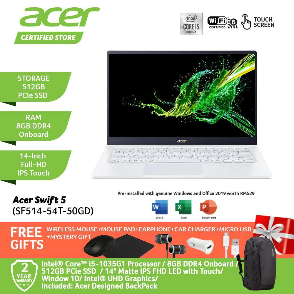 Acer Swift 5 SF514-54T-50GD/ SF514-54T-52AS Notebook NX.HLGSM.002/ NX.HHUSM.003 Moonstone White/ Charcoal Blue/ i5-1035G1/8GB/Intel Graphic/ 512GB PCIe SSD/14-Inch Matte IPS FHD LED with Touch /W10/ Pre-Installed Office 2019+Free Premium Free Gift Malaysia