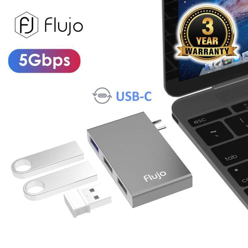 Flujo CH-15 Micro USB C to USB A Adapter,Flujo USB-C to 3*USB 3.0 Aluminum Portable Data Hub.USB Type-c Hub for Mac book Pro or USB C Laptop Tablet(Rose Gold/Gold/Space Grey/Silver)