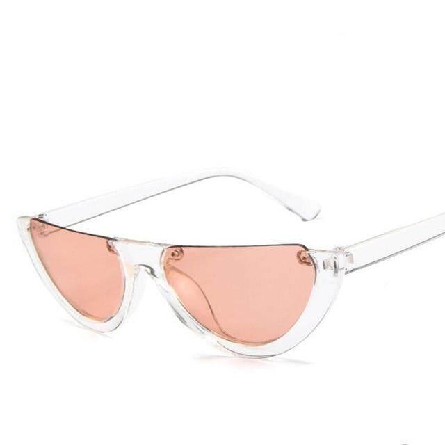 caiziyuan 2018 New Vintage Half Frame Sunglasses Women Cat Eye Small Black White Red Colorful Transparent Sunglasses Female Male UV400