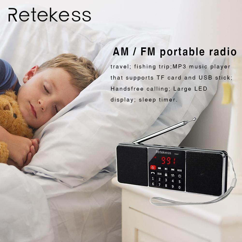For RETEKESS TR602 Mini AM FM Stereo Radio with Wireless MP3 Player Speaker AUX Input Sleep Timer