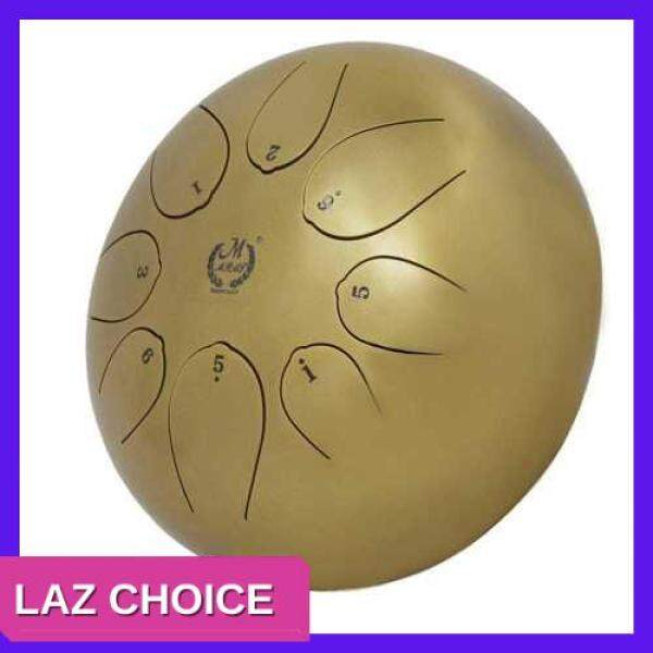 LAZ CHOICE 10 Inch Steel Tongue Percussion Drums Handpan Instrument with Drum Mallets and Bags (Golden) Malaysia