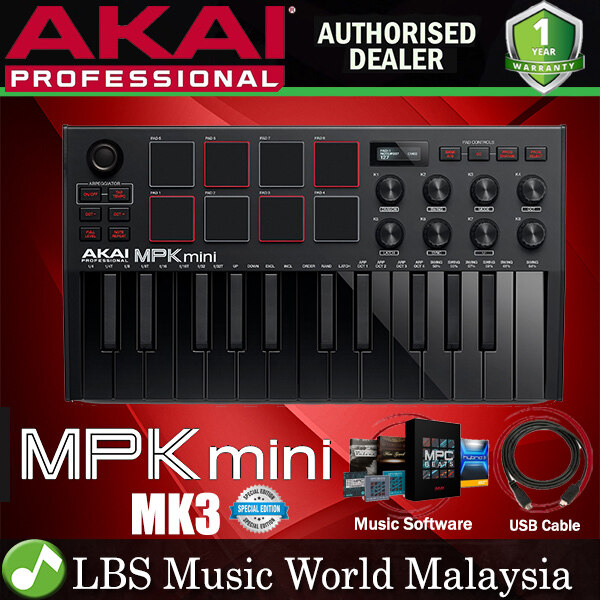 Akai Professional MPK Mini MK3 25 Key Midi Keyboard Controller with 8 Pad and 8 Knob with Protool (MKiii) Malaysia