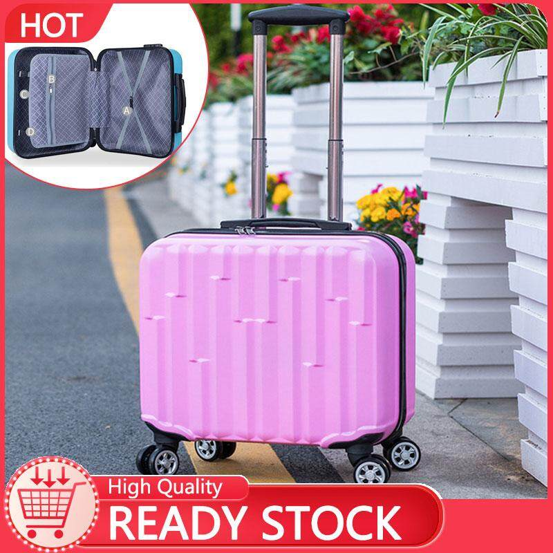 """Johnn Suitcases Printable LOGO 18"""" Trolley Case Caster Travel Case Small Boarding Universal Wheel Luggage [READY STOCK - High Quality]"""