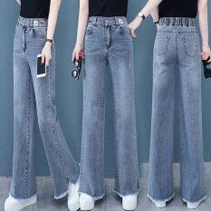 Quần jean nữ ống rộng cạp cao có lưng chun sau co giãn phong cách Hàn Quốc đơn giản dễ phối đồ – INTL
