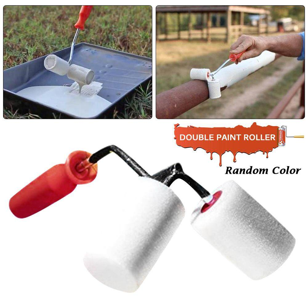 Double Sided Paint Brush Roller Brush Cylindrical Corner Painting Tool