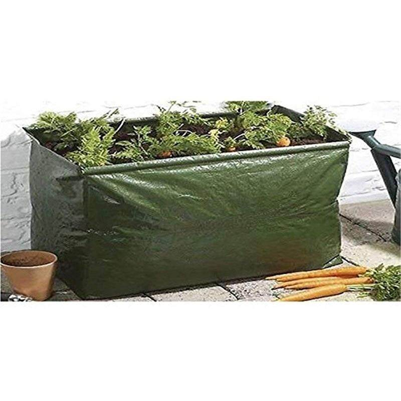 PP 14 Gallon Fabric Raised Planting Bed Garden Grow Bags Herb Flower Vegetable Plants Bed Rectangle Planter