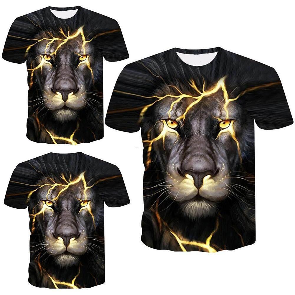 Mens Womens Casual Tee Shirts 3D Print Lion Graphic designer t-shirt Animal Tops