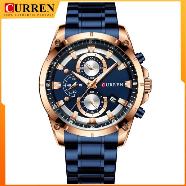 CURREN Hot Sale Men Fashion Business Quartz Watch Top Brand Luxury Calendar Military Stainless Steel Analog Wristwatch Waterproof Male Army Watches 8360 Malaysia