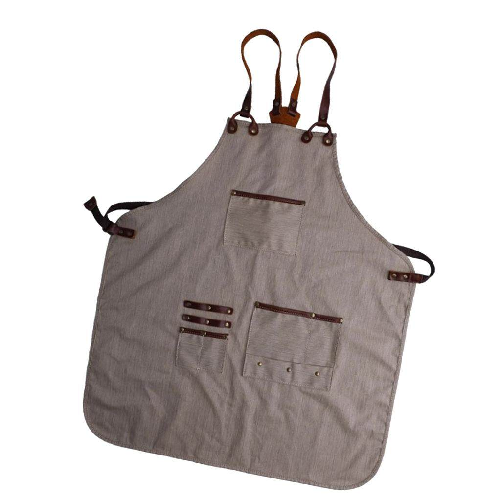 Fenteer Heavy Duty Waxed Canvas Work Apron Utility Apron with Tool Pockets, Cross-Back Straps Woodworking Tool Apron Adjustable Straps