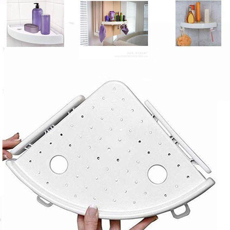 Xjing Hot Sell Bathroom Shelf Organizer Snap Up Shelf Caddy Bathroom Plastic Corner Shelf Shower Storage Wall Soap Holder By Xjing.