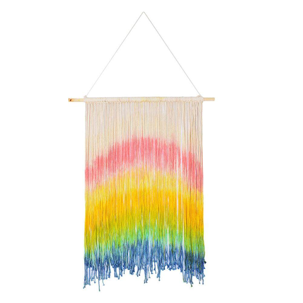 DIY Boho Style Wedding Macrame Curtains Wall Photo Backdrop Handmade Cotton Summer Wedding Engagement Party Decoration Hanging Tapestry Style:Photo Color