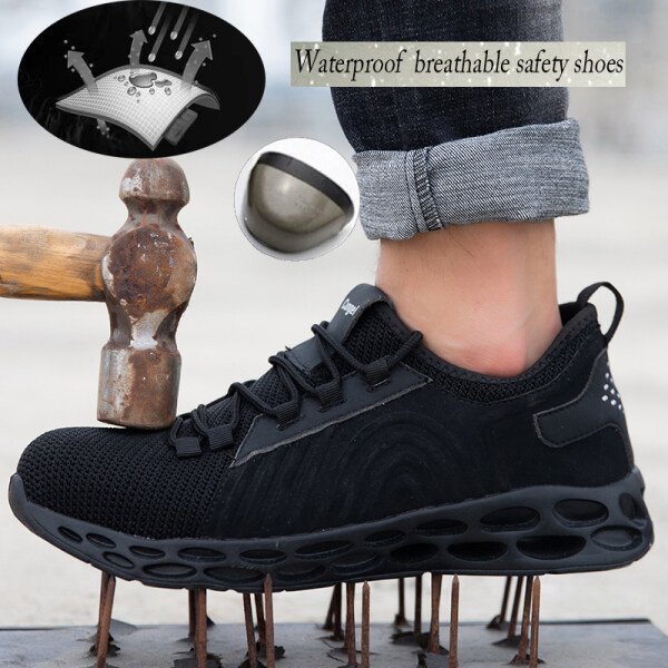 RTWE Steel Toe Cap and Steel Sole Midsole Low Cut Safety Boots Waterproof Breathable Safety Shoe