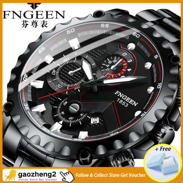[With box]gaozheng2 FNGEEN mens watch luxury brand black stainless steel calendar waterproof sports fashion trend mens watch clock gift Malaysia